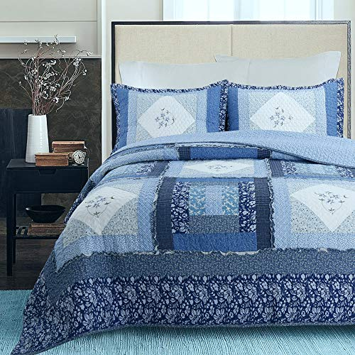 (Cozy Line Home Fashions Freesia Blue Navy Vintage Floral Embroidered Real Patchwork Quilt Bedding Set, 100% Cotton Reversible Coverlet,Bedspread for Women (Royal Blue, Queen - 3 Piece) )