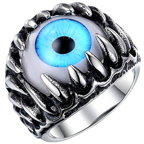 Men's Stainless Steel Gothic Skull Dragon Claw Evil Devil Eye Biker Ring,vintage Blue Silver White Size 8