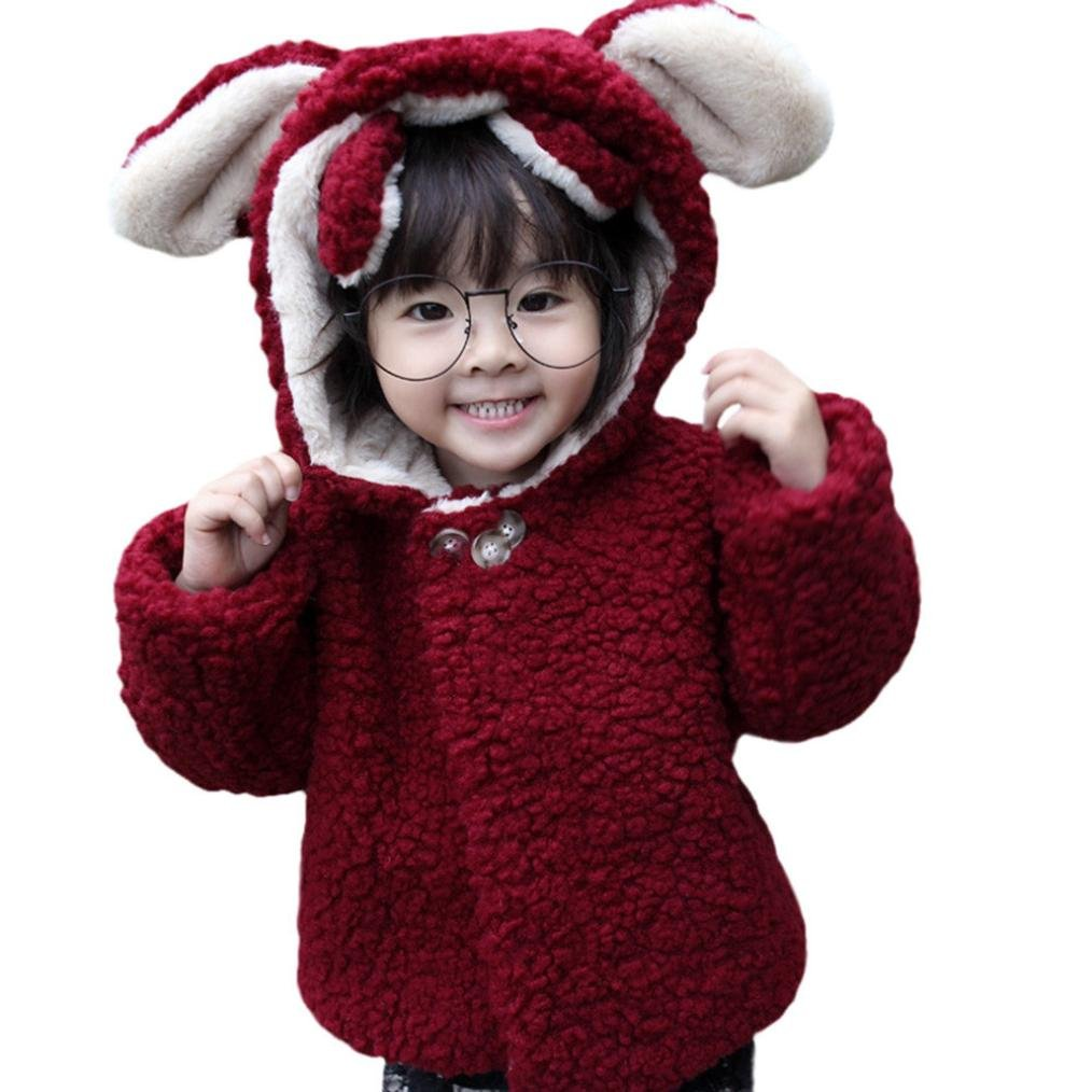 Infant Baby Girls Cute Bunny Ears Hooded Coat Winter Outwear Cloak Jacket