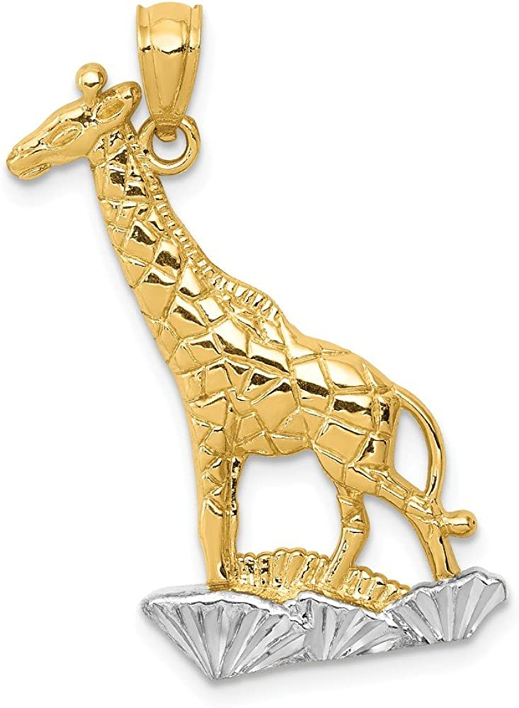 FB Jewels Solid 14K Yellow Gold and Rhodium Diamond-cut Polished Giraffe Pendant