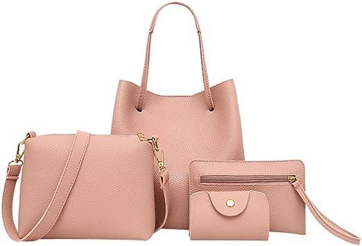 QUNANEN Women Shoulder Bag 4Pcs Ladies Pattern Leather Handbag+Crossbody Bag+Messenger Bag+Card Package