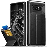 Galaxy Note 8 Wallet Case, Vena [vCommute] Upgraded Version [Military Grade Drop Protection] Flip Leather Cover Card Slot Holder with KickStand for Samsung Galaxy Note 8 (Space Gray / Black)