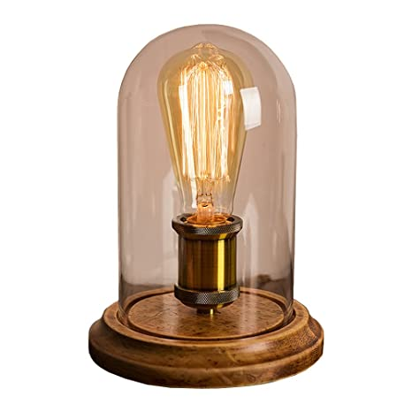 Surpars House Vintage Desk Lamp Glass Shade Table Lamp Edison Bulb