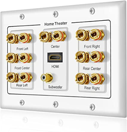 Banana Binding Post Coupler Type Wall Plate for 6 Speakers 1 RCA Jack for Subwoofer /& 2 HDMI Ports