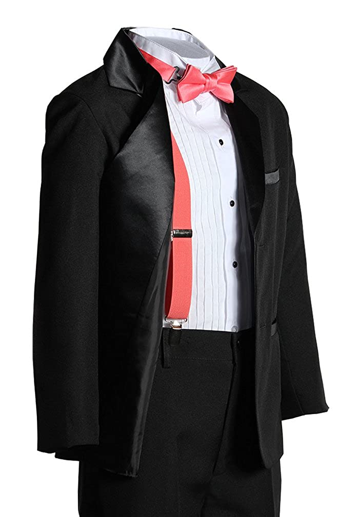 Kids Two Button Notch Tuxedo with Coral Suspender Bow Tie Set