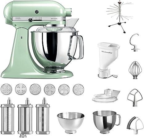 Robot de cocina de KitchenAid Artisan, modelo 5KSM175PS; paquete Pasta incluido.Accesorios principales:Accesorios para pasta con 3 rodillos, prensa de pasta (corta) con 6 boquillas, secador de pasta y accesorios estándar.: Amazon.es: Hogar
