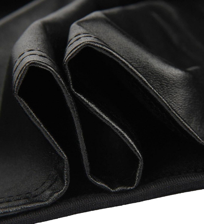 SunWard(TM) Women Long Sleeve O-Neck Leather Splice Clubwear Tops