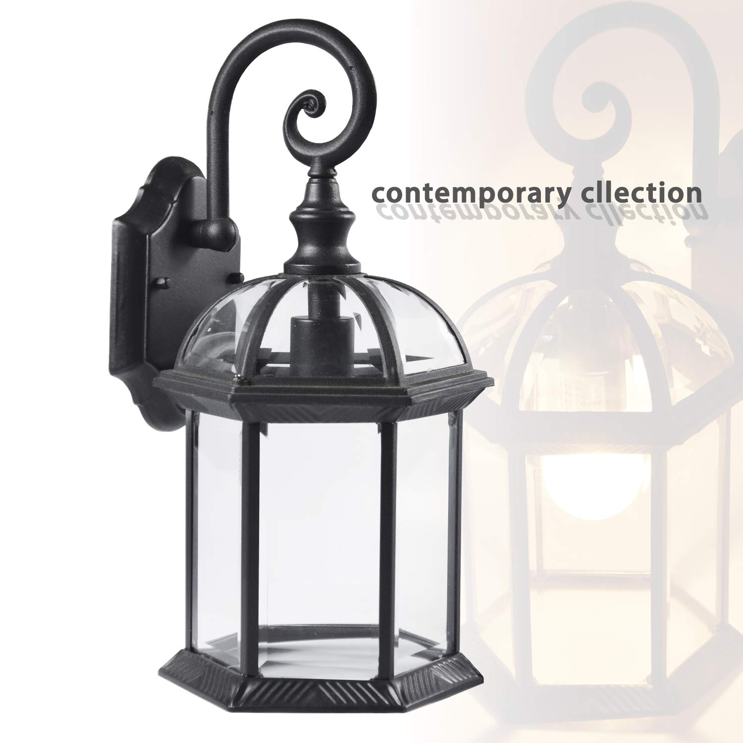 ETOPLIGHTING Contemporary Collection Exterior Outdoor Wall Lantern with Beveled Clear Glass APL1020 by eTopLighting