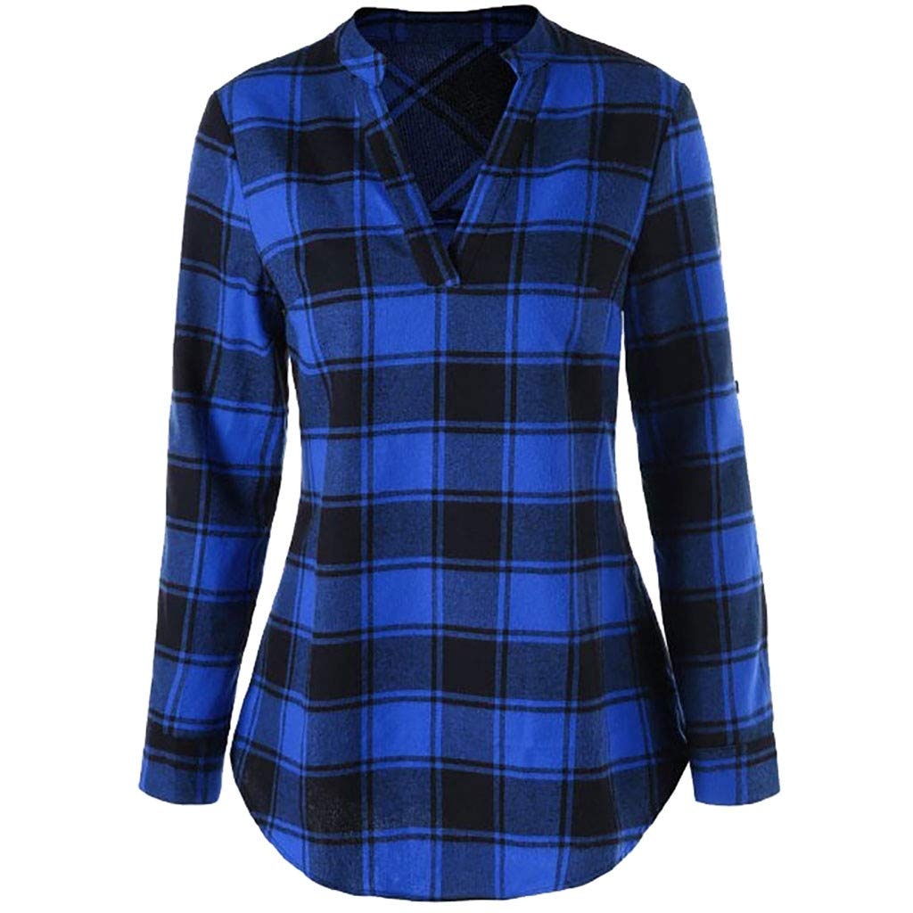 BEAUTYVAN Henley Shirts for Women, Ladies Plaid Long Sleeve V-Neck Shirt Tops Curved Hem Tunic Blouse