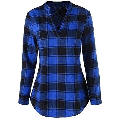 Women Plus Size Plaid Checks Long Sleeve Shirt Dress Loose Blouse ...