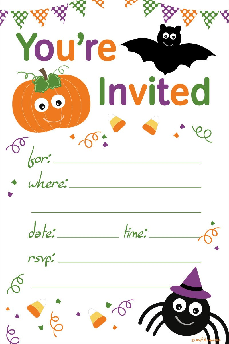 Halloween Themed Child Party Invitations - Fill In Style (20 Count) With Envelopes by m&h invites