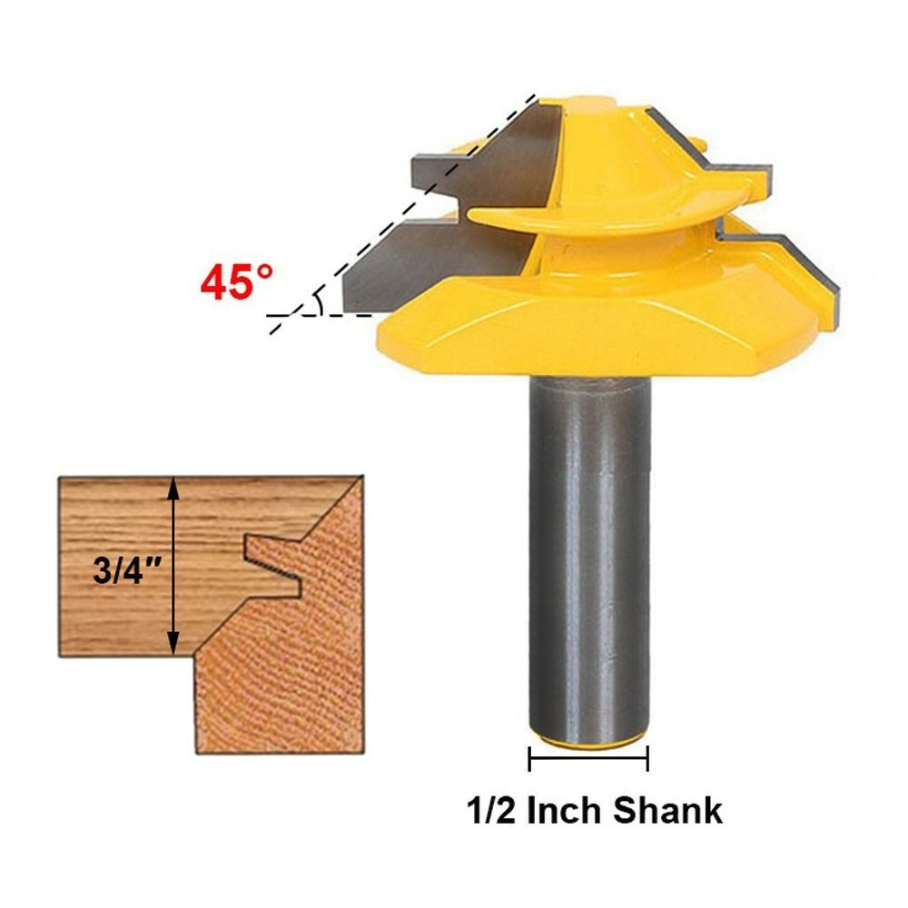 1/2 Inch Shank 45 Degree Lock Miter Router Bit 3/4 Inch Stock Joint Router Bit Woodworking Cutter Tool