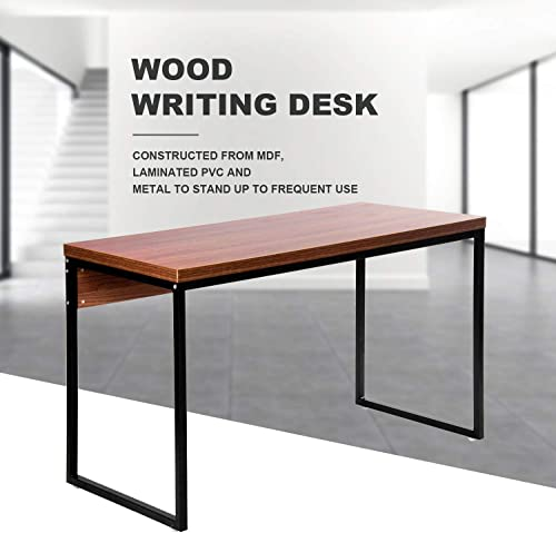 Merax Wood Writing Home Furniture Workstation Soho Rectangular Dining Office Desk Computer Table Brown