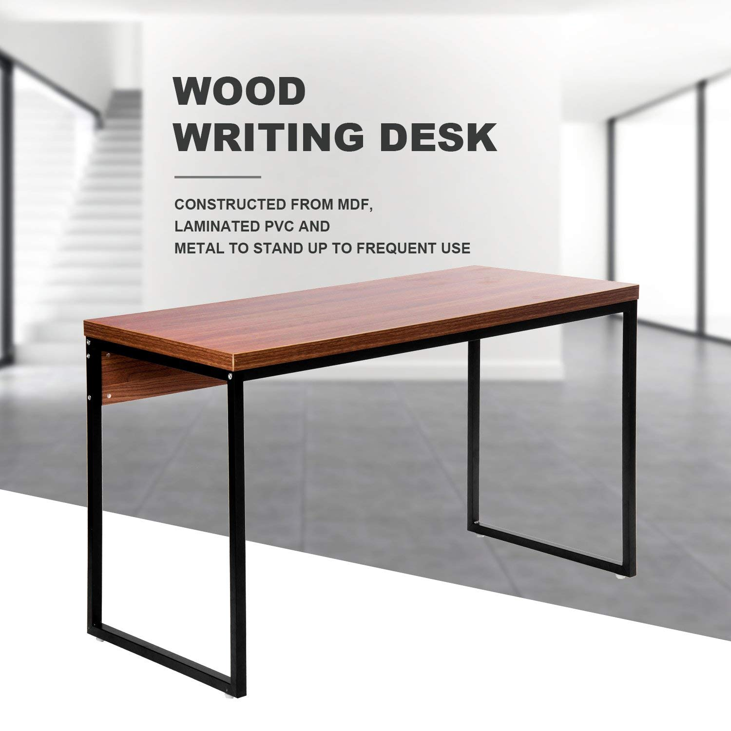 Merax Wood Writing Home Furniture Workstation Soho Rectangular Dining Office Desk/Computer Table(Brown)