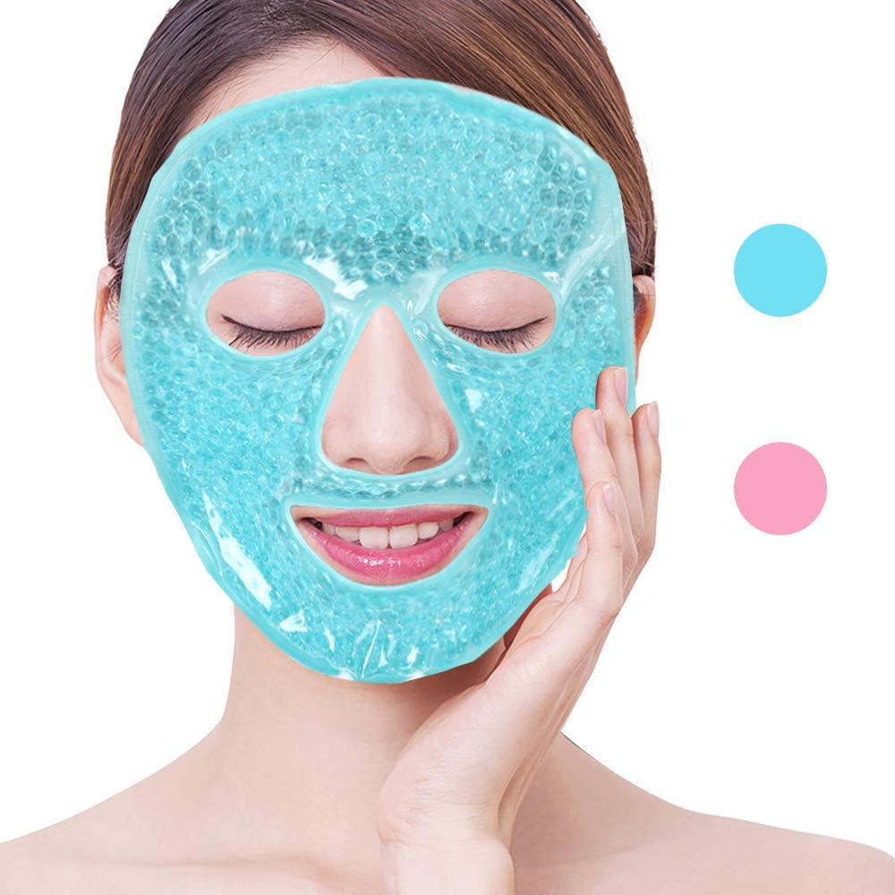 NEWGO®Full Gel Mask Cold Pack Reusable Gel Face Mask for Hot Cold Therapy, Swollen Face, Migraines, Inflamed Skin - Blue