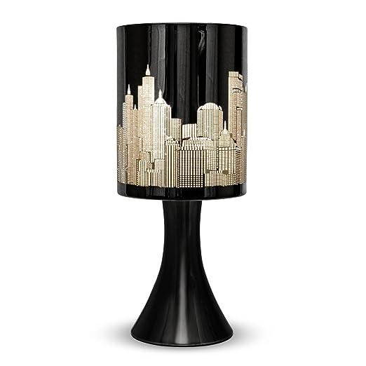 2 opinioni per MiniSun- Lampada da tavolo con funzione touch, finitura nera lucida e paralume