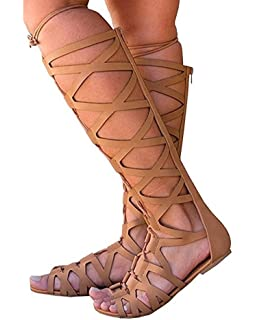 5db5928357b7 Fashare Womens Knee High Gladiator Sandals Lace Up Strappy Flat Shoes