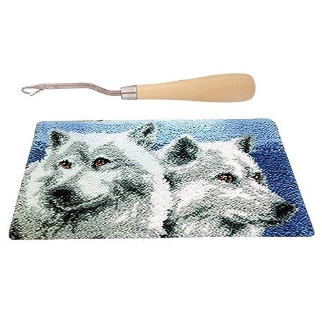 Black Cat Carpet Latch Hook Rug Making Kits for Girls with Wood Crochet Hook