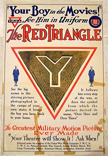 PRICE CUT WWI YMCA POSTER - THE RED TRIANGLE - YOUR BOY IN THE MOVIES