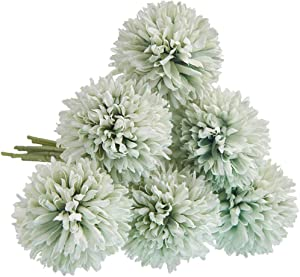 CQURE Artificial Flowers, Fake Flowers Silk Plastic Artificial Hydrangea 6 Heads Bridal Wedding Bouquet for Home Garden Party Wedding Decoration 6Pcs (Green)
