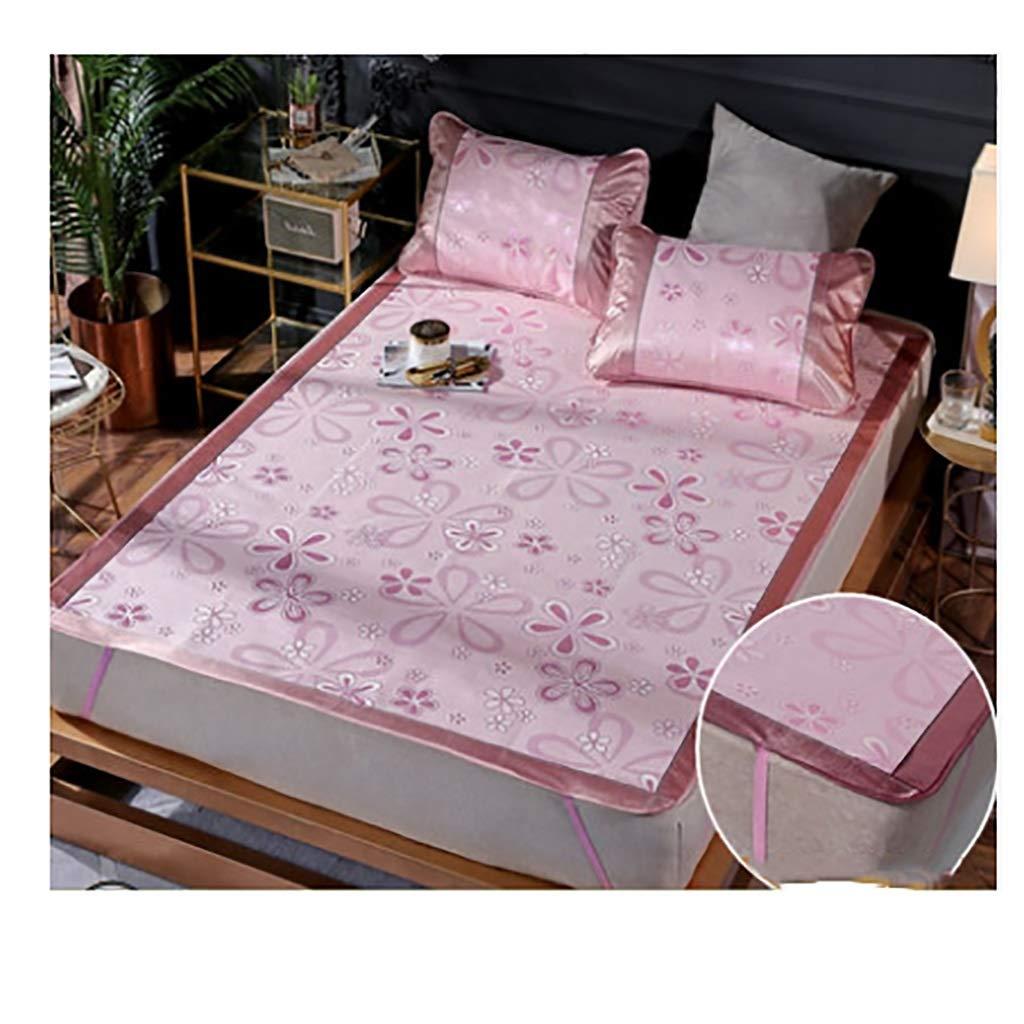 VIVIANE Mat 1.8m Bed Summer Ice Silk Three-Piece Set Folding 1.5 Single Student Dormitory Grass Mat 1.2, Summer Ice Silk Mat (Color : Pink, Size : 120195cm)