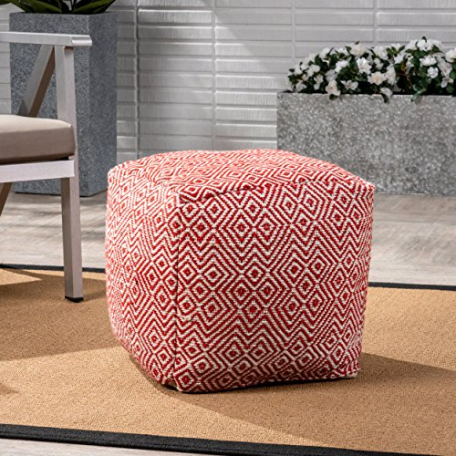 Great Deal Furniture Alston Outdoor Modern Boho Pouf, Ivory with Red by Great Deal Furniture
