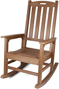 Outdoor Rocking Chair with 350lbs Support, All-Weather Oversized Outdoor Chair, Fade-Resistant Porch Rocker Chair, 34L 27W 46.8H (Brown)