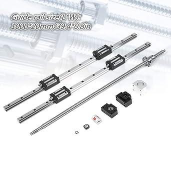 VEVOR Linear Guide Rail 2Pcs HGR20-1000mm Linear Slide Rail with 1Pcs RM1605-1000mm Ballscrew with BF12//BK12 Kit Linear Slide Rail Guide Rail Square for DIY CNC Routers Lathes Mills