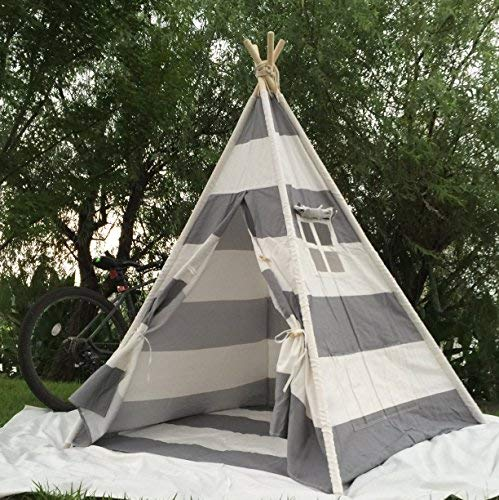 Pericross Kids with [並行輸入品] Teepee Tent Children's Indian Play Tent Children's Playhouse for Outdoor and Indoor Play (4 Panel Grey Stripes with Bottom) [並行輸入品] B07R3Z3XBM, ハガマチ:e3f9bd43 --- number-directory.top