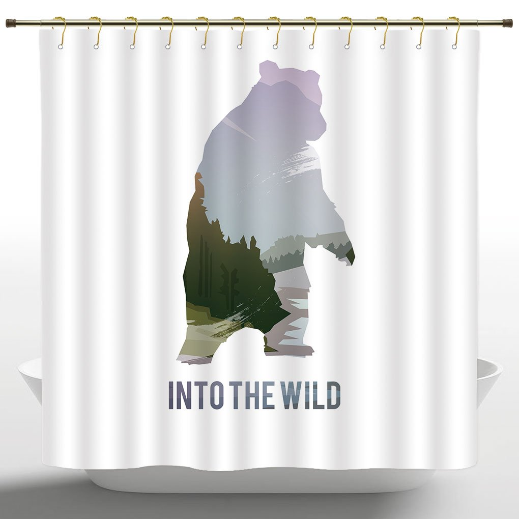 IPrint Artistic Shower Curtain By Cabin DecorWild Animals Of Canada Survival In The Wild Theme Hunting Camping Trip OutdoorsMulticolorWater And Mould