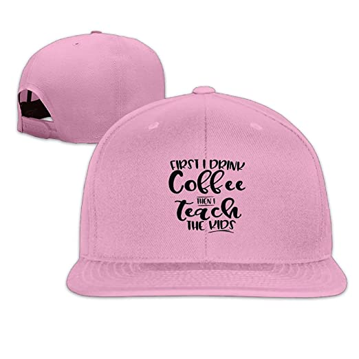 ef5d4e5a292 Amazon.com  First I Drink Coffee Then I Teach The Kids Men Women Sport Hat  Custom Cap Baseball Mesh Hat Design Hatpink  Clothing