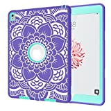 iPad Pro 9.7 Case A1673/A1674/A1675, Hocase Rugged Shock Absorbent Dual Layer Hard Rubber Protective Case with Cute Flower Pattern for iPad Pro 9.7-inch 2016 - Purple / Mint Green