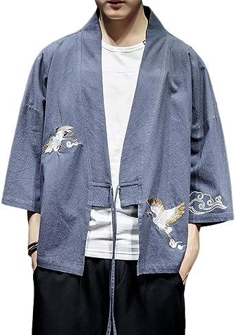 Sunma Hombres Vintage Japonés Kimono Camisa Haori Chaqueta Bordado Holgado Cárdigan Camiseta: Amazon.es: Ropa y accesorios