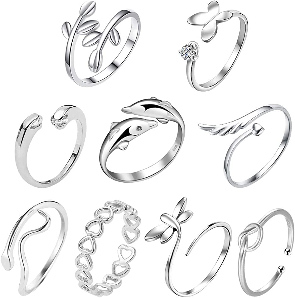 4Pcs//set Knuckle Foot Ring Open Toe Adjustable Finger Rings Women Jewelry Gifts