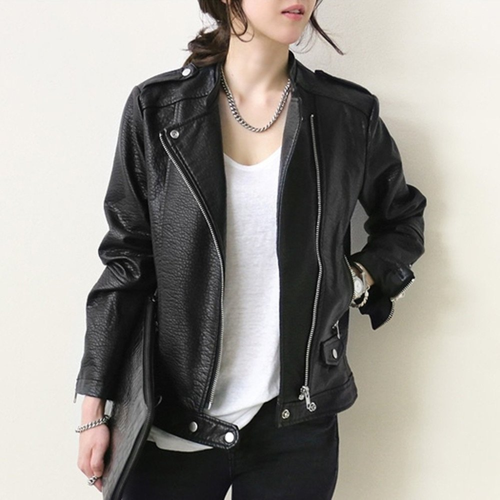 Amazon.com: Clearance!!! MOSE Autumn Fashion Women Thick Leather Motorcycle Jacket Coat Zipper Tops Overcoat: Clothing