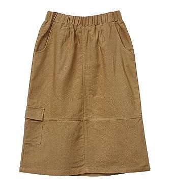 13cb0e80b5 Womens Midi Skirts Knee Length with Pockets Summer Elastic Waist Cotton  Linen A Line Scrub Skirt