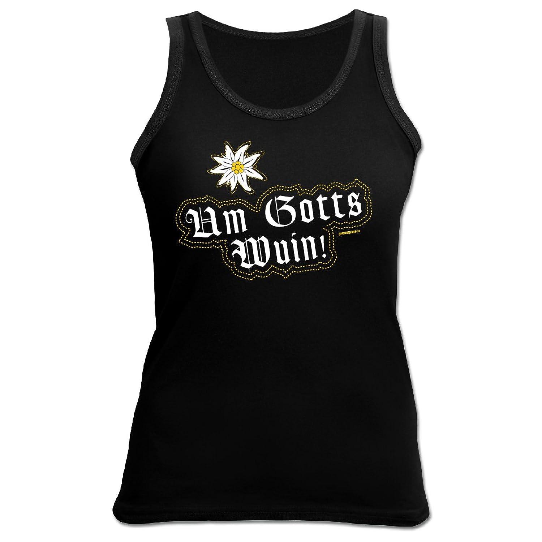 Tank Top Damen bayrische Sprüche - Mundart - Dialekt : Um Gotts wuin ! - Goodman Design Damen T-Shirt