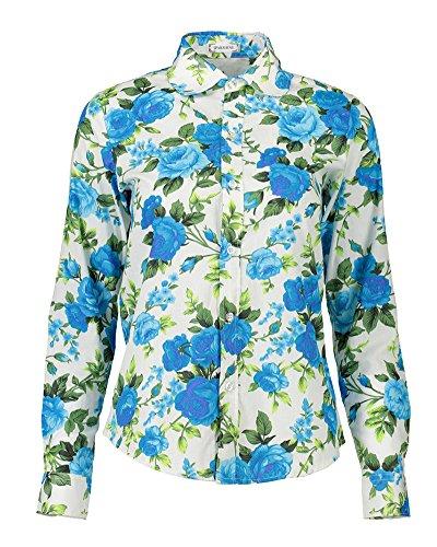 Tee Manche Shirt Style 20 Blouses PengGeng Chemise Basic Longue Femme Fleurs Casual vqWwT07Y
