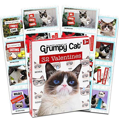 Grumpy Cat 32 Valentine Classroom Exchange Cards]()