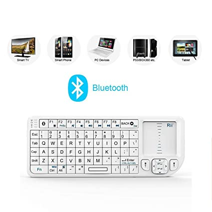 Rii K02+ Mini Wireless Bluetooth Keyboard Mouse Touchpad Backlit Presenter Laser Pointer For iPad iPhone PS3 HTPC Laptop Android Mobile Tablet PC White Color(Touchpad Can Work With Android System Only at amazon