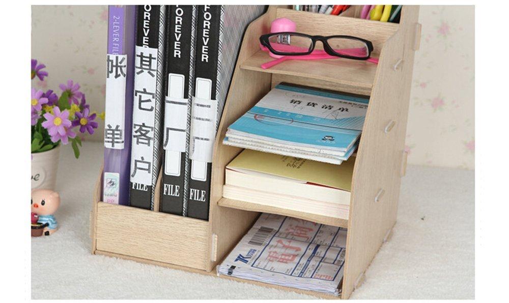 color Original 2/ranuras para archivos de papel //revistas y 4/compartimentos Hensych/® organizador de madera de escritorio estante de almacenamiento