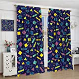 smallbeefly Funky Blackout Window Curtain Retro 80`s Memphis Fashion Style Vibrant Triangles Squares