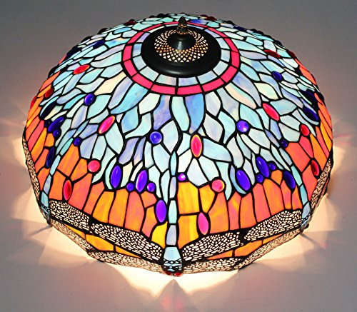 Renaissance Flush Mount Ceiling Fixture (ETERN 16-Inch European Retro Style Dragonfly Stained Glass Flush Mount Ceiling Light Dining Room Light)