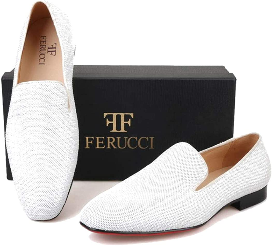 FERUCCI Men White Sequins Slippers Loafers Flats