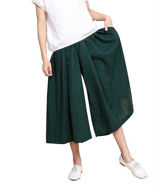 HaiDean Pantalones Palazzo Mujer Verano Fashion Anchas Culotte Mujer  Pantalones Falda Elegantes Mode De Marca Vintage Elastische Taille Cómodo  Color Sólido ... b1b9d9e8fa39