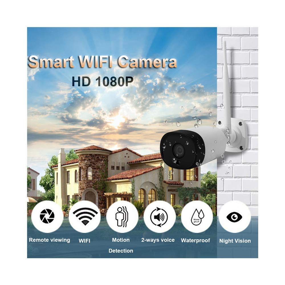 Outdoor Security Camera 1080P Weatherproof WiFi Camera Two-Way Audio, IR Night Vision, Motion Detection Security Camera IP66 Weatherproof Compatible with iOS/Android System (White)