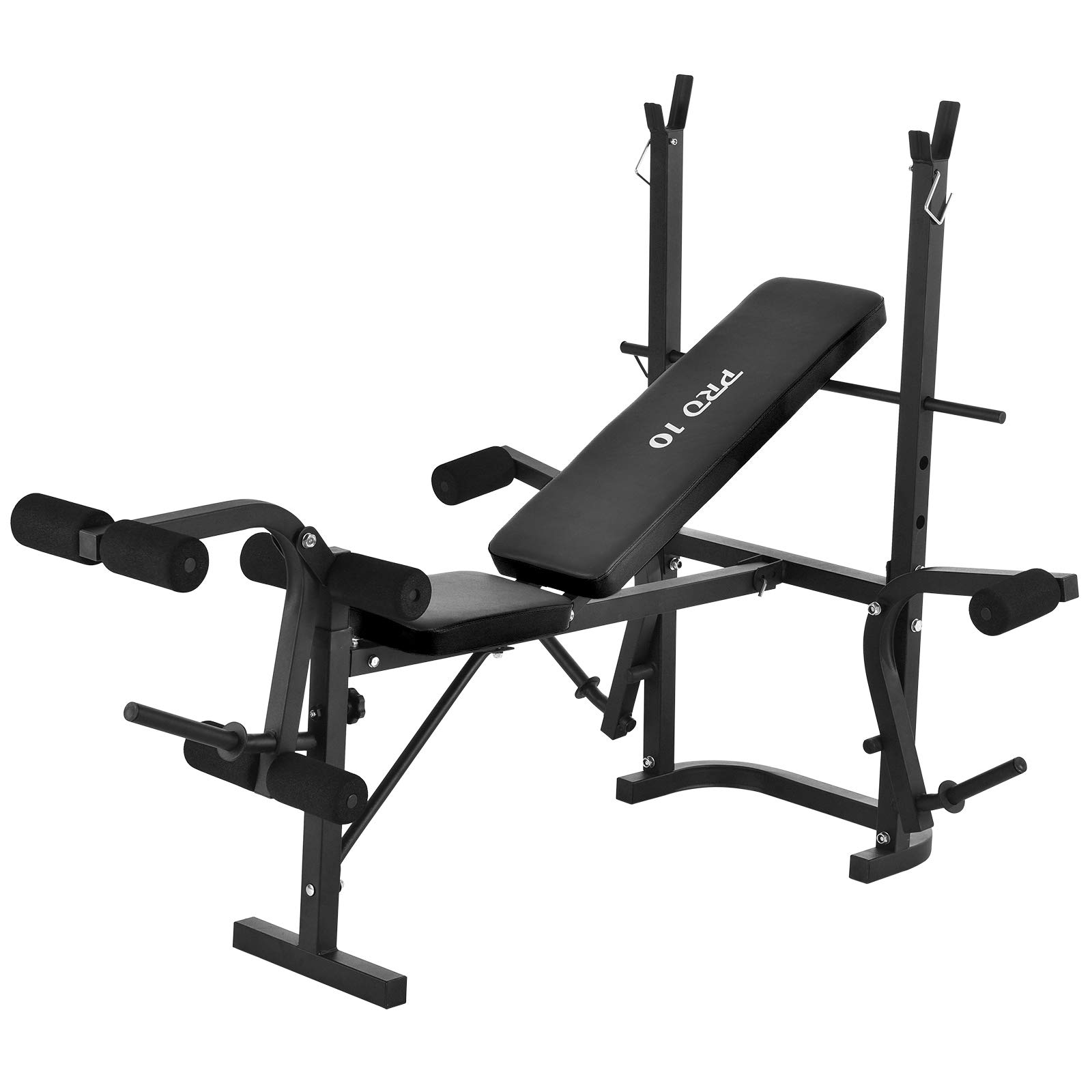 Murtisol Foldable Weight Bench Workout Gym Bench with Leg Extension and Leg Curl,Leg Developer,Crunch Handle,Adjustable Backrest,Black