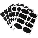 NouveLife Lot de 48 Etiquette Ardoise Autocollante Stickers Bocaux Etiquette Tableau Noir Réutilisable Imperméable avec Marqueur Craie Effaçable 6 Feuilles pour Bocal Pot Carton Boîte