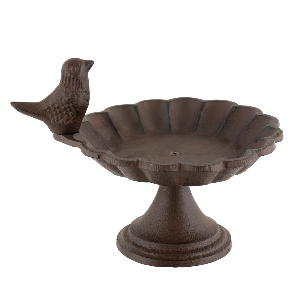 Dibor - French Style Accessories for the Home Bain d'oiseau en fonte Marron antique Cottage Garden (W643) – Moyen Idéal pour attirer les Nature dans votre maison. – 20 x 16.5 x 14 cm