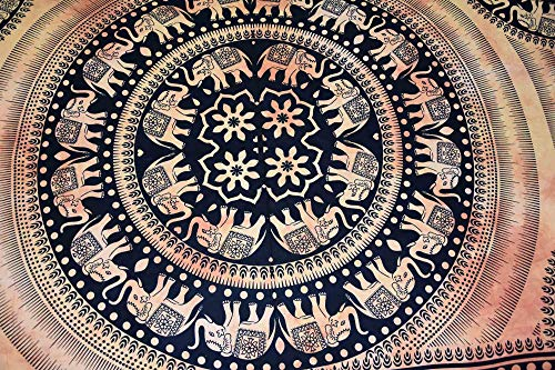 (Kala Emporium 100% Cotton Bedsheet Indian Tapestry Elephant Tapestry Wall Hanging Bohemian Nature Dorm Room Wall Hippie Mandala Tapestry Full Size 84x54inch Wall Tapestry Bedroom (Elephant - 1))